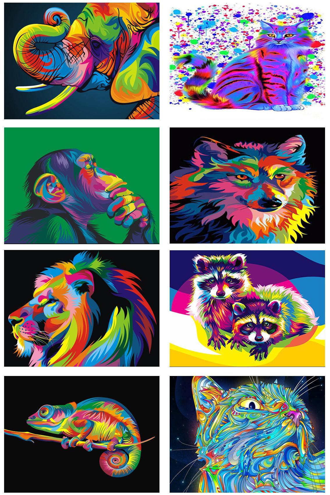5D diamante animale di DIY del gatto del cane del leone scimmia Elephant Lupo Raccoon ricamo punto croce Mosaico Rhinestone pieno di arte della parete della tela di canapa della decorazione della casa
