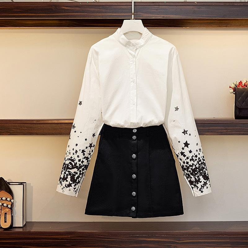 traje francés alta cintura de adelgazamiento de dos piezas de falda falda conjunto de mezclilla camisa de mezclilla otoño 2020 New Super hadas diseño de la camisa