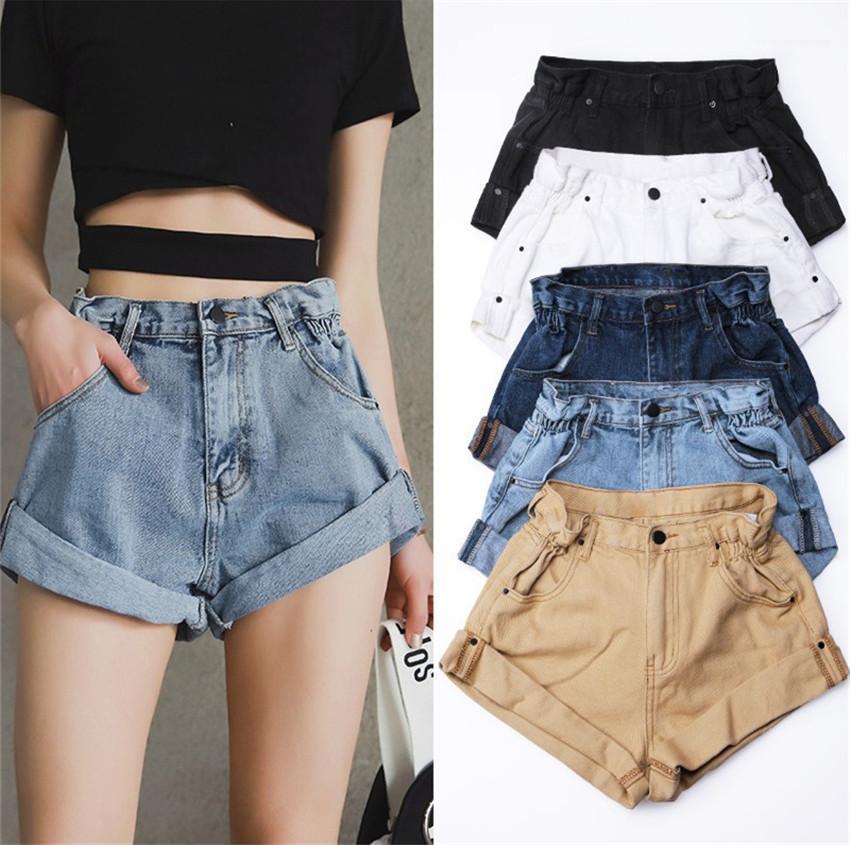 Bel Kadın Kısa Jeans Yaz Casual Femme Jeans Kadınlar Kot Şort Geniş Bacak Kısa Kot Elastik Bel Vintage Yüksek