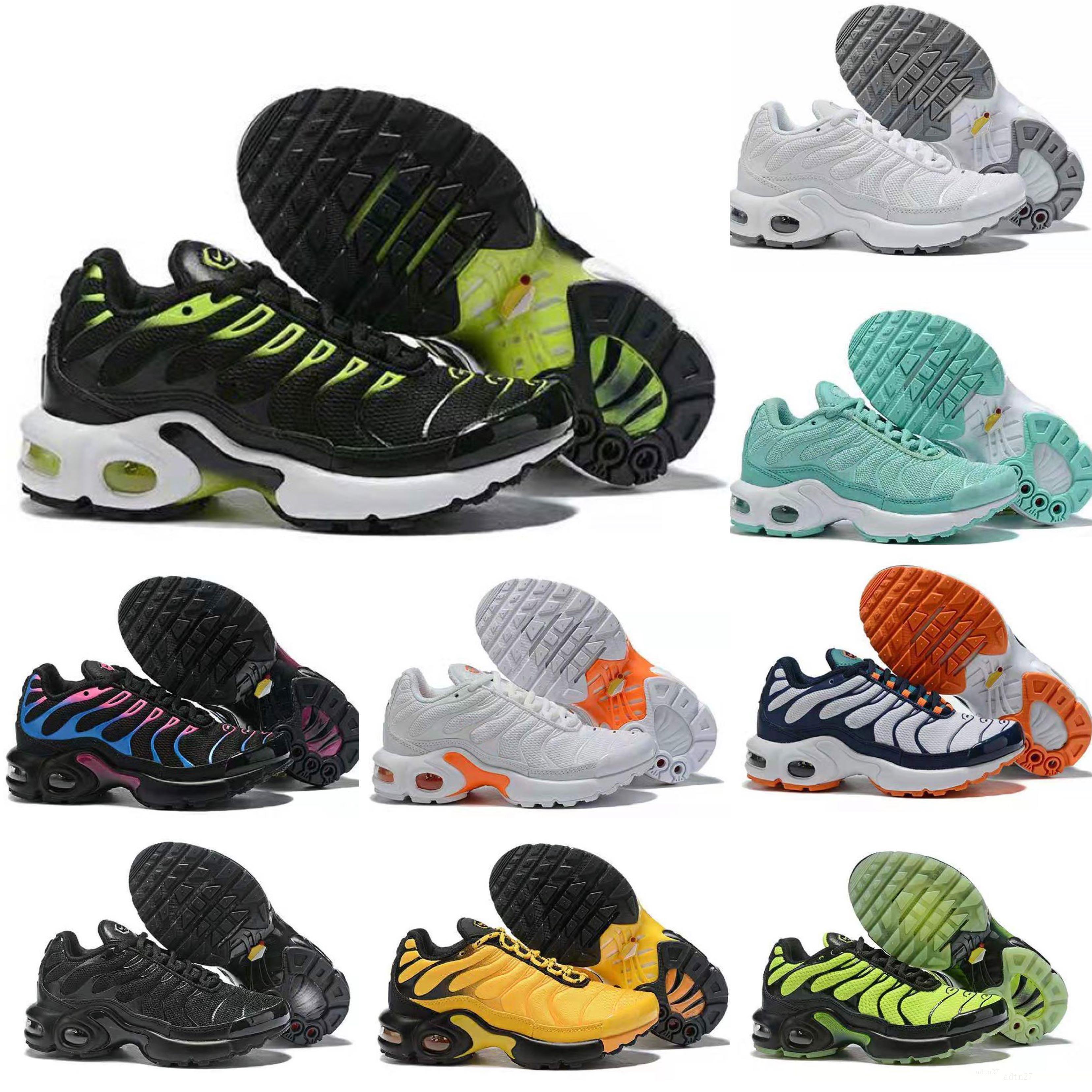 Nike Air TN Plus sapatos meninos meninas crianças miúdos criança Sapatos Rosa Vermelho Branco Cristal formadores White City tênis meias Running Shoes tamanho 28-35