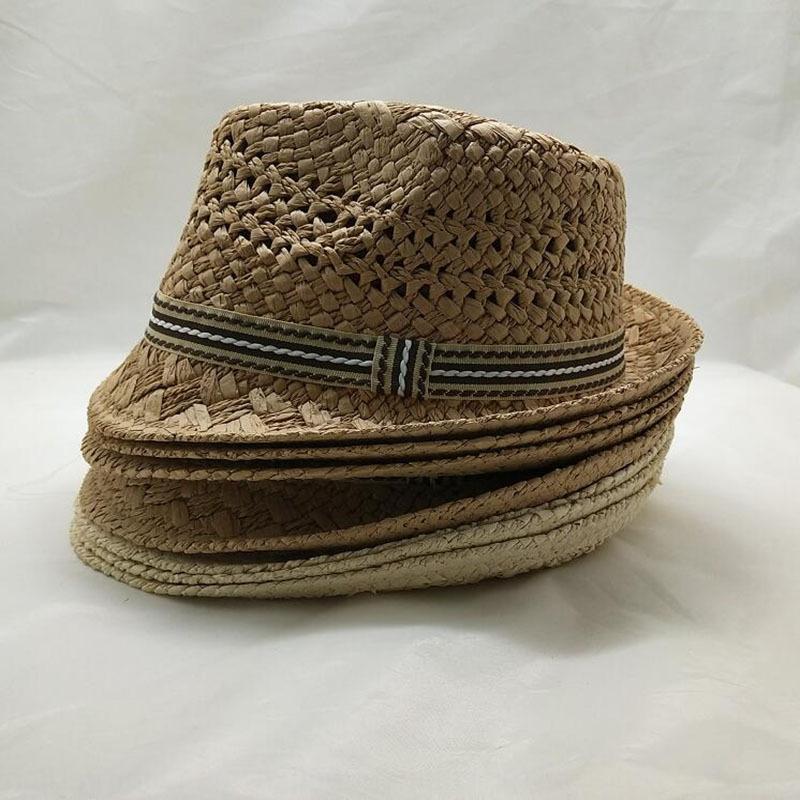 Nuevo estilo coreano padre-hijo estilo británico sol hechas a mano de los niños de la playa de Jazz de verano fresco 2ww9w sombrero de paja sombrero de paja