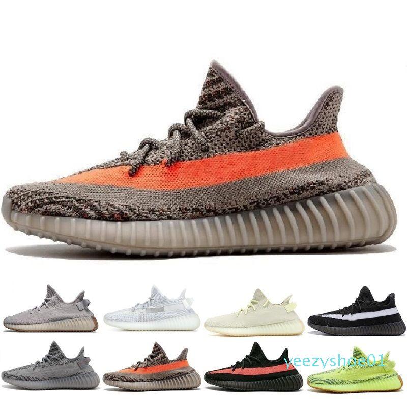 diseñadores de zapatos de sésamo V2 Calzado casual para mujer para hombre Kanye West estático blanco zapatos deportivos Crema Bred tinte azul Mantequilla zapatillas de deporte y01