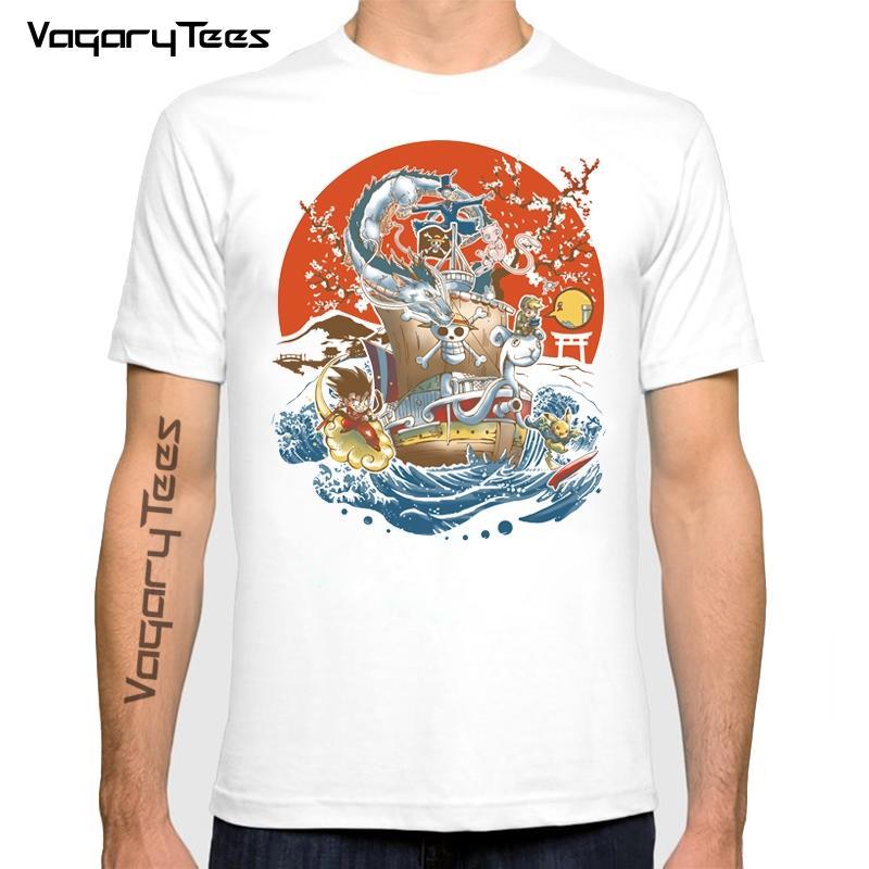 Homens camisetas Vagiandês Japonês Anime Mundo Impressão T Camiseta Homens Moda Verão O-pescoço Personagem De Banda Desenhada Manga Curta T-shirt