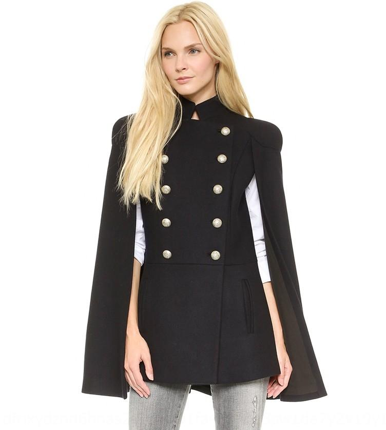 Autumn and winteruniform exquisite golden double-breasted shawl Button Button Cloak buttons cape coat coat FVeEE