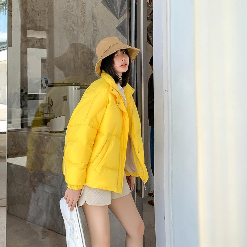 JceEt Indian stand Korean collar winter coat 2019 thickened large size loose orange style warm Warm Down jacket down jacket New