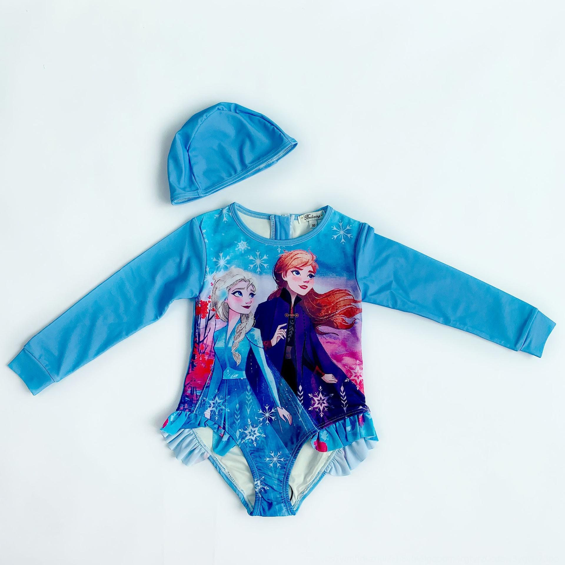 yJp5X niñas bebé bebé de la princesa del bikini sol a prueba de traje de baño de estilo de secado rápido del traje de baño de aguas termales de la manga larga de los niños