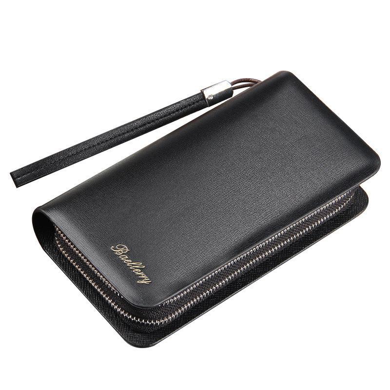 Vente en gros Baellerry hommes portefeuille de luxe à long embrayage Handy Bag Moneder Homme Sac en cuir 100PCS / lot