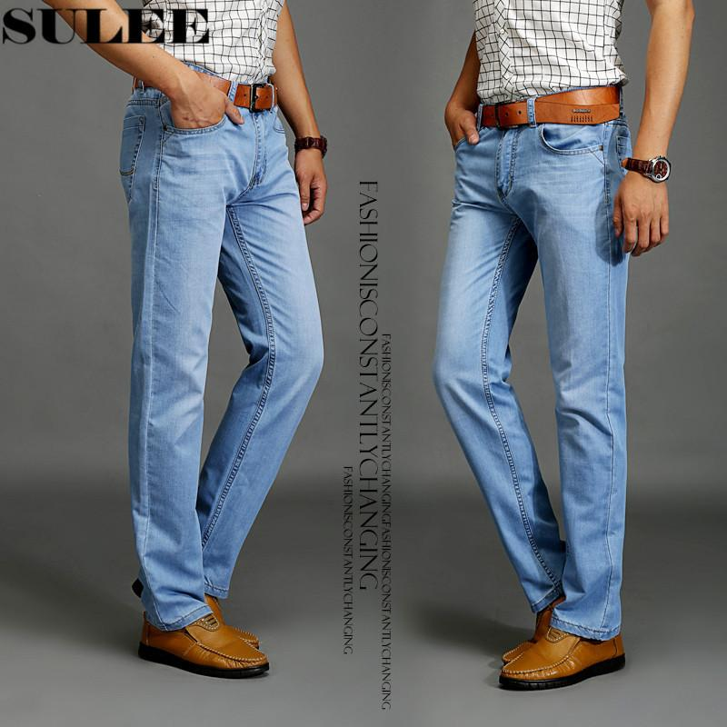 SULEE Brand 2019 New Fashion Men's Casual Thin And Lightweight Skinny Jeans Trousers Tight Pants Solid Colors CX200824
