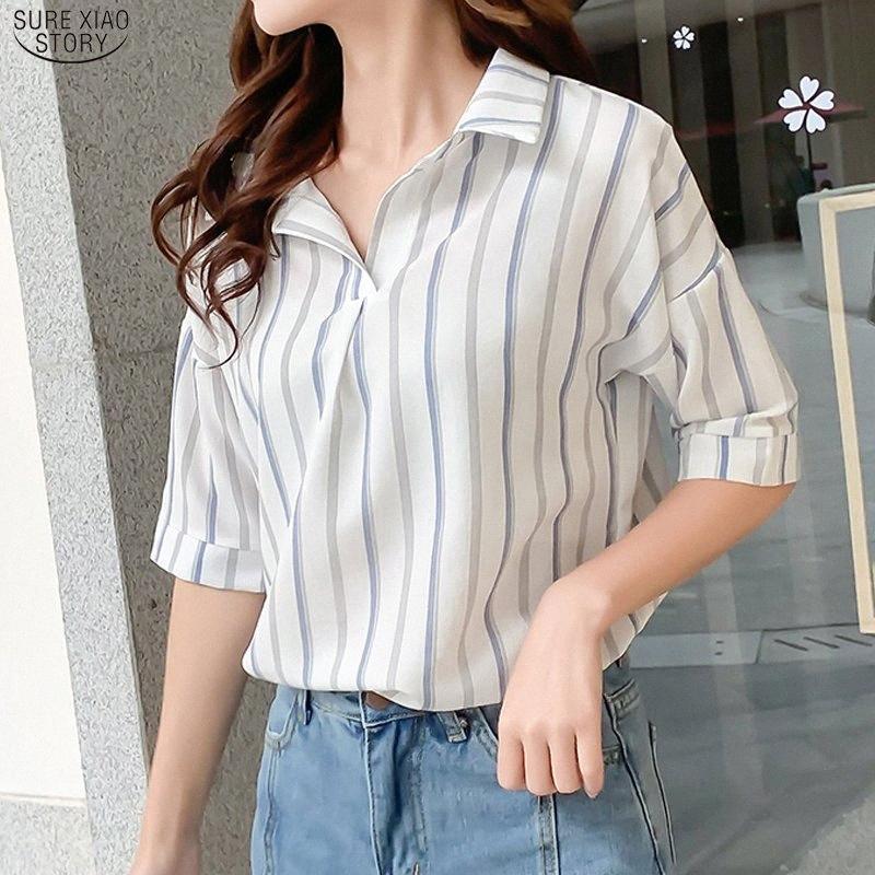 2020 2020 Womens Verão New coreano camisa de manga curta Casual Blusa Mulheres Plus Size solto Womens camisa listrada Pullover Top 8764 50 vjN4 #
