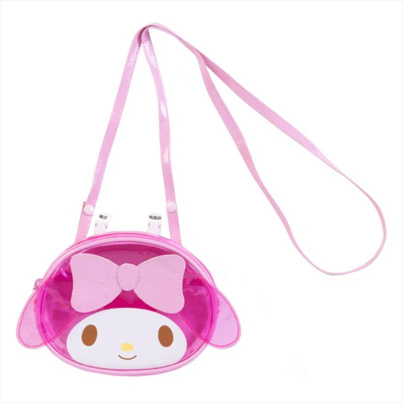 Forma Estate My Melody testa rosa trasparente libero borsa carina Cartoon impermeabile in PVC Borse Marsupio ragazze Mini Crossbody Messenger