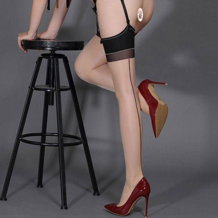 e2lzd Sexy Cuba de seda cor de linha traseira contraste e meias de seda meias sexy tentação