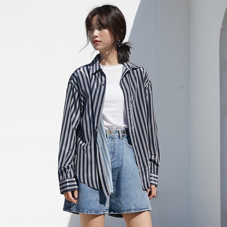 AdfT1 gg9Id otoño 2020 Corea del estilo elegante nicho premium solapa francesa rayas verticales contraste de la camisa larga de la manga del color de la moda de las mujeres