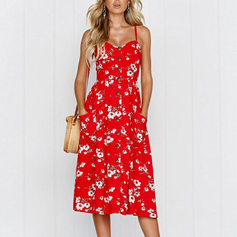 Дизайнер платья лета планки спагетти Цветочные Повседневный Sexy Горячее надувательство Seaside Женщины платье пляж женщин отдыха