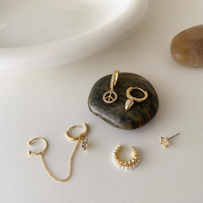 Pendientes WTLTC franceses Retro zircon de la perla para las mujeres forman oreja pequeña pendientes establecidas Manguito de la vendimia Accesorios Piercing