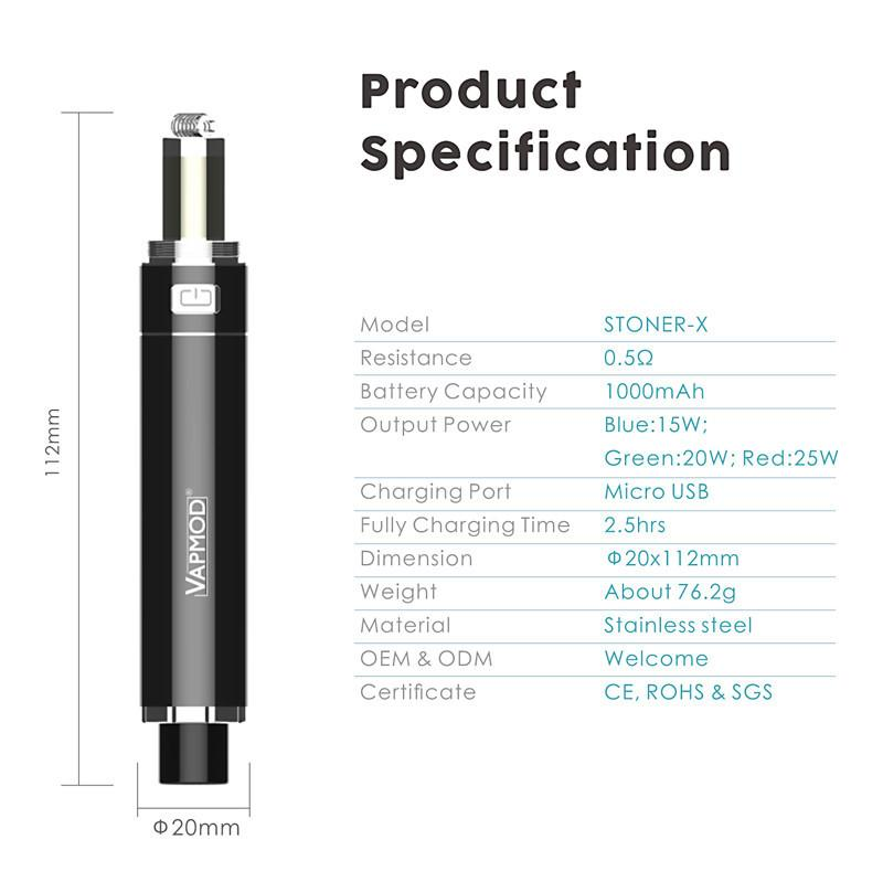 VAPMOD Stoner X Kit Wax Vaporizer E Cigarette Kit DAB Катушка Сенсорная катушка 1000 мАч Напряжение Регулируемая батарея Revape Pen для концентрата