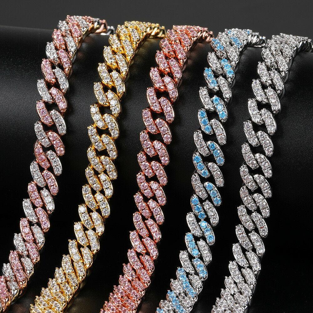 """9mm HiPHOP Cadena cubana collar brillante Zircon Bling 14k chapado en oro cobre pequeño diamante Miami Cuban Link Chain16 """"-24"""""""