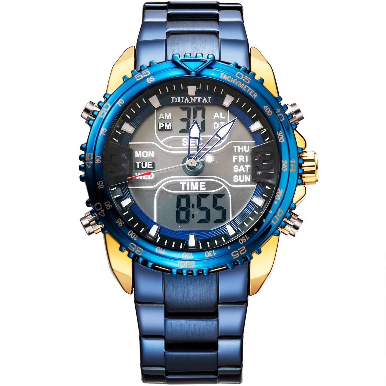Luminoso deportes electrónicos reloj electrónico de la correa de acero DUANTAI multifuncionales de doble movimiento de los hombres al aire libre del reloj luminoso impermeable