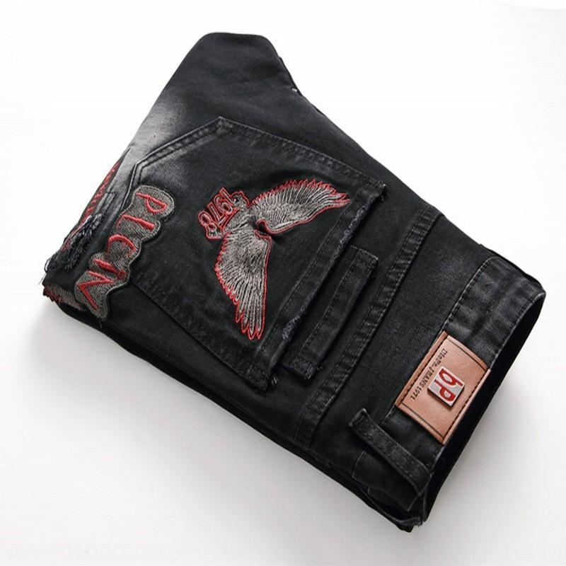 JJC93 Punk rasgado as calças stretch motocicleta dos homens de moto personalizado e calça jeans calça jeans reta dos homens bordados