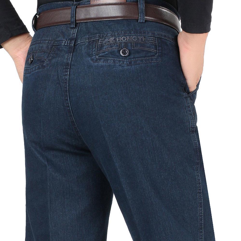 Nueva llegada del estiramiento jeans para hombres otoño del resorte masculino ocasional de alta calidad de algodón pantalones regulares Fit Denim azul oscuro pantalones holgados CX200820