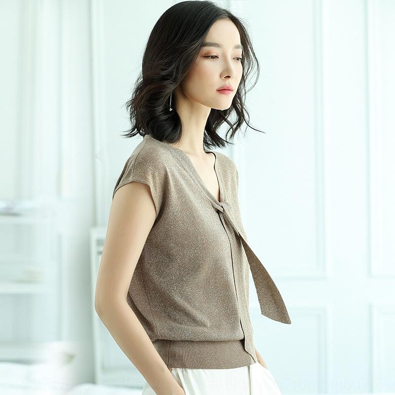 Sommer-Eis Seide Strickwaren T-Shirt Pullover Damen-Pullover losen Kurzarm-T-Shirt Strickwaren koreanische Art V-Ausschnitt kurz dünnes Band