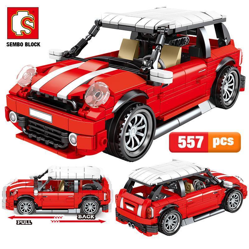 Por volta 557pcs Bricks Sembo Criador modelo Blocos de viaturas Veículo Brinquedos Pull Cidade Crianças Edifício vermelho Moc Technic Corrida bbyOEj mycutebaby007