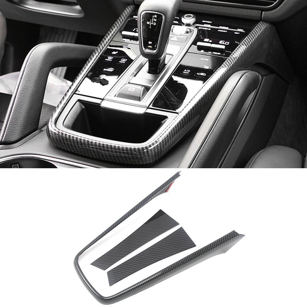Porsche Cayenne 2018 2019 2020 için Araç Aksesuarları Vites Paneli Trim Çerçeve Sticker Kapak ABS Karbon İç Dekorasyon
