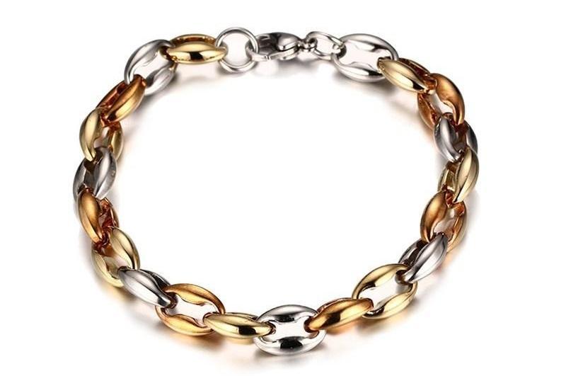 Collana Uomini punk braccialetti si è regolato in acciaio inossidabile oro rosa placcato oro Combined insiemi dei monili per MeNH