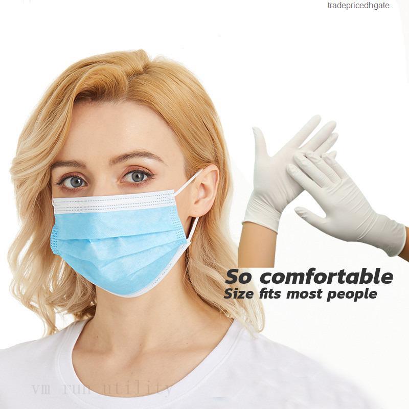 Пвх Одноразовая противоскольжения Anti-кислоты латексные) (не защитные перчатки 3-слой Нетканые Маски против Коса Face для взрослых