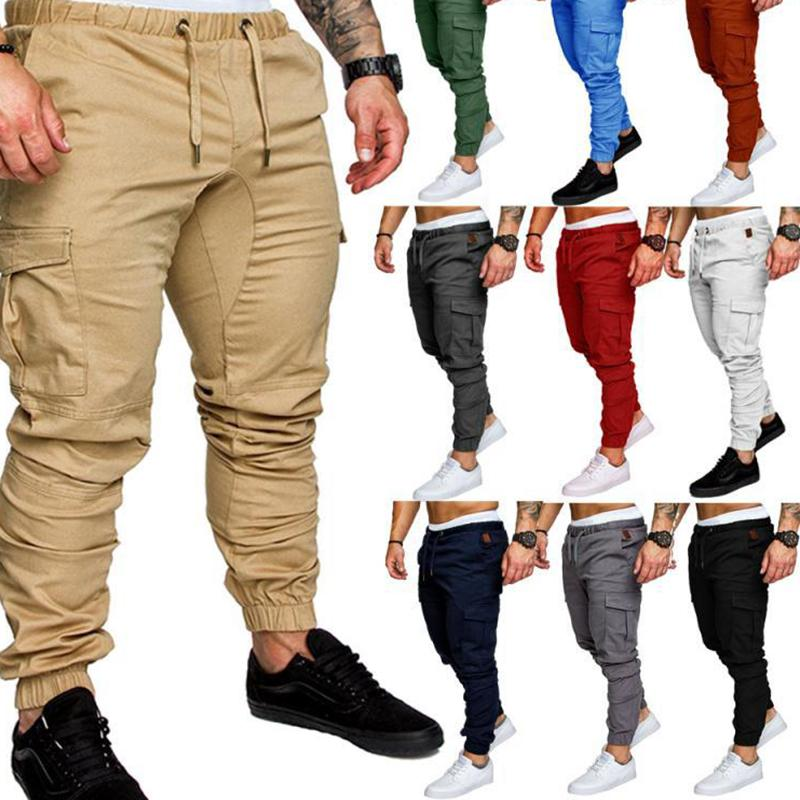 Men Casual Cargo Pants Autumn New Male Jogger Trousers Solid Fitness Multi-pocket Men's Sportswear Tactical Sweatpants