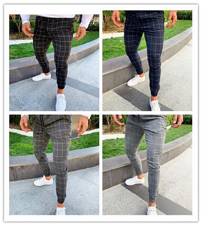 Diseñador de los pantalones del color sólido del lazo para hombre Pantalones Lápiz nuevos del estilo de la tela escocesa de Hombres pantalones casuales para hombre Imprimir