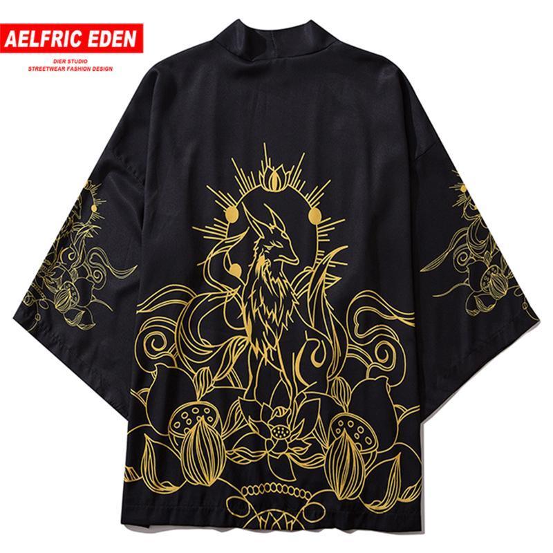 Aelfric Eden Fée Imprimer Kimono japonais Chemises Manteaux 2020 Hip Hop Hommes japonais Kimono Vestes Streetwear Veste ouverte avant