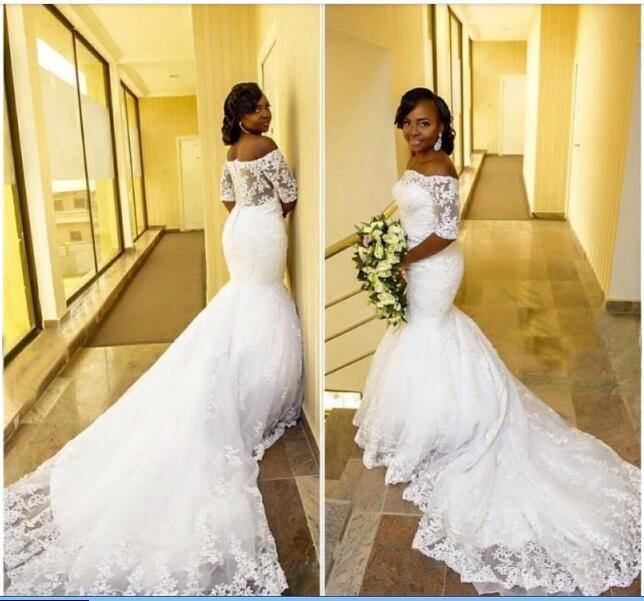 Arabo africano Mermaid Abiti da sposa taglie forti Corte dei treni See Through Back Off-the-spalla mezza merletto del manicotto Abiti da sposa 2020 Nuovo W650