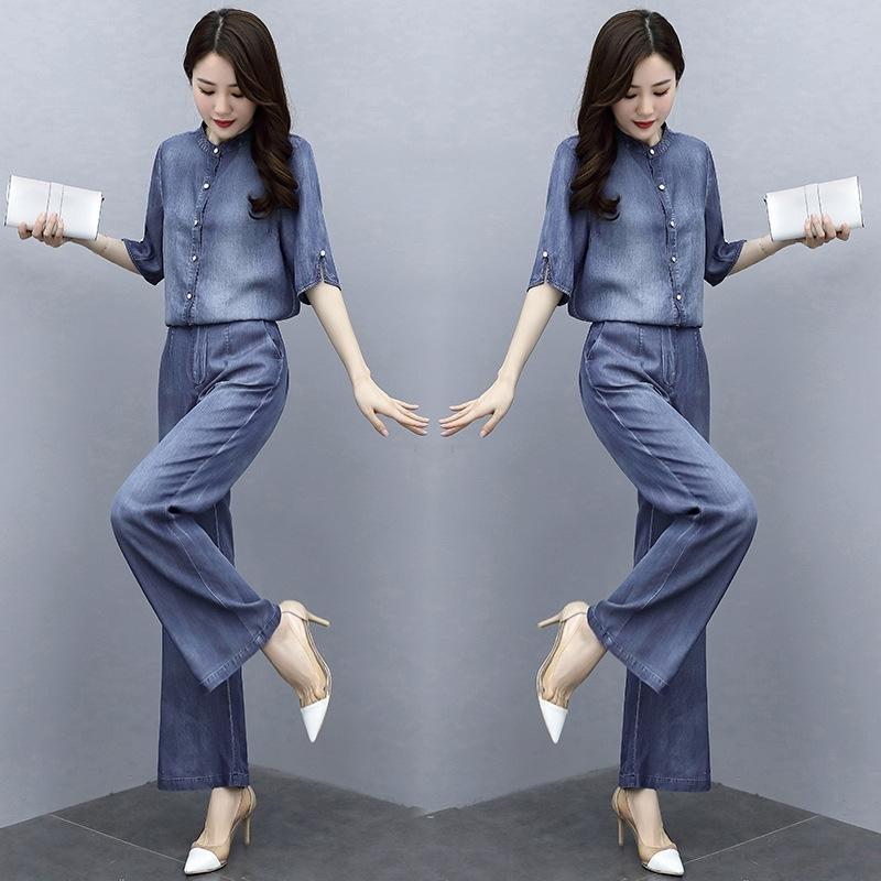 bBJ4D Hosen Tencel Denimklage des Sommer der Frauen Farbe breite Beinhosen Mantel neuer Art und Weise Temperament einfacher mittlerer Hülsenmantel breites Bein y5TVY solide