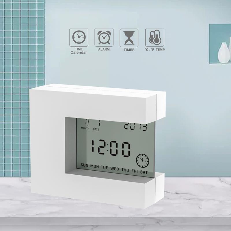 Электронный ЖК-будильник настольных цифровые часы для дома с температурой таймер Календарем вращающихся многофункциональным