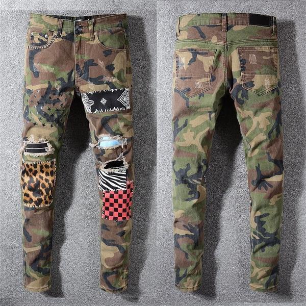 Mens Distressed Rips Jeans neri di lusso Moto pantaloni del denim con pannelli stampa Slim moto causale Uomo Designers Abbigliamento 2020