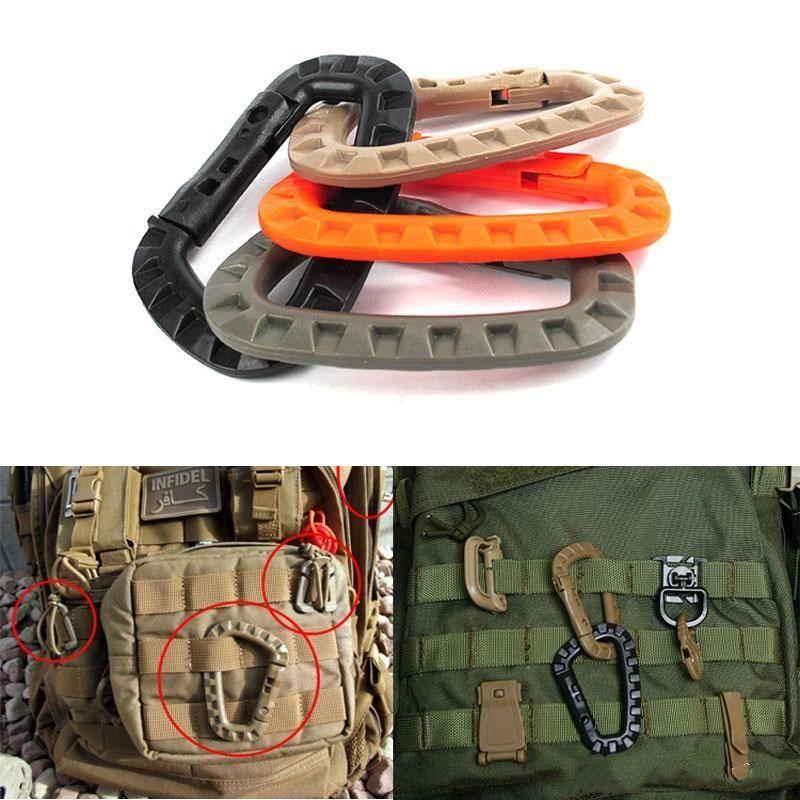 Accessori di sistema tattico Itw Hook Climbing Camping moschettone fibbia sacchetto esterno D Media zaino militare Molle BDE2011 kmvFA