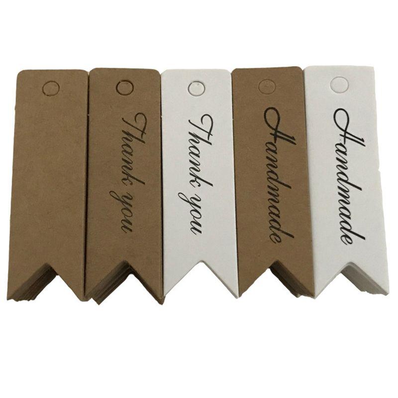 100pcs / Lot della carta kraft Etichetta Retro Blank Paper Price Tag Hanging fatto a mano Gift Card Preferiti bagagli Tag Appendere Etichetta Tag Natale ZX BH2119