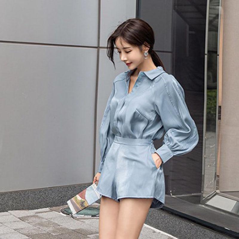 r4L2p Kadın takım elbise 2019 erken sonbahar yeni ışık olgun mizaç orta boy gevşek geniş bacak şort Şort Gömlek gömlek iki parçalı set