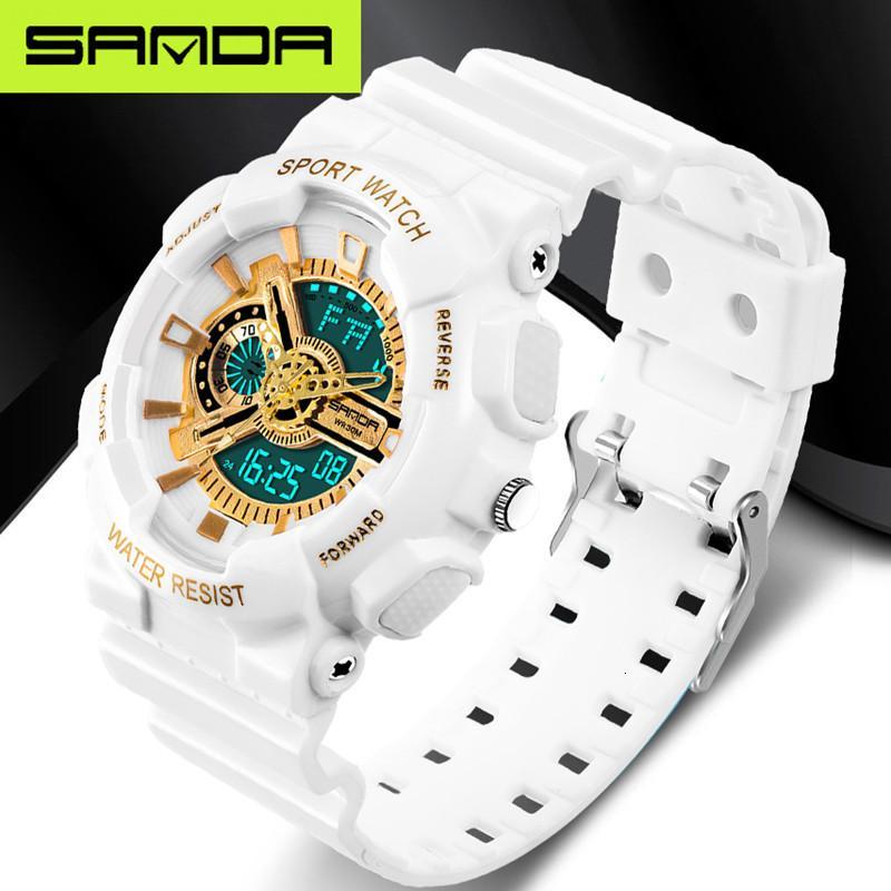 Nouveau sport militaire imperméable marque SANDA mode montre LED numérique des hommes de montre G extérieur multi-fonction montre rjes hombre