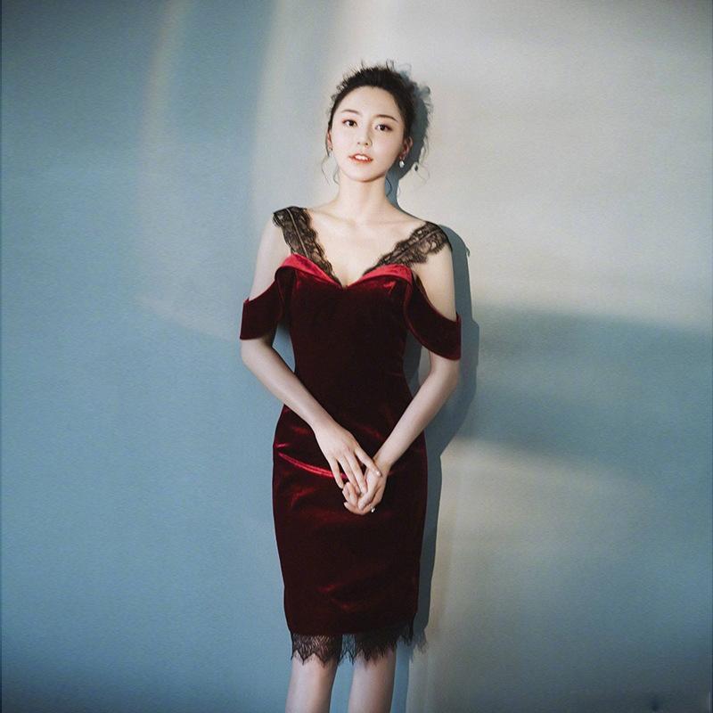iNS3B J2Eqf outono e elegante vestido Lace socialite estilo coreano vestido de inverno rendas costura velvetshoulder magros novos da mulher