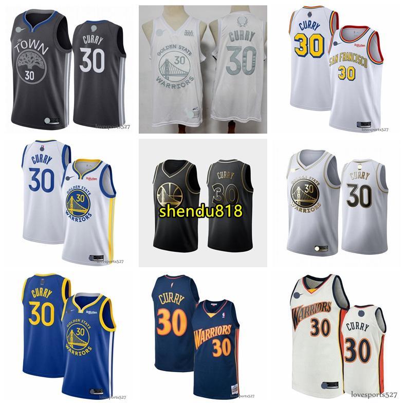 Hombres Golden StateguerrerosJersey 30 StephenCurry 11 KlayThompson Baloncesto Jersey Nueva 0808 2020