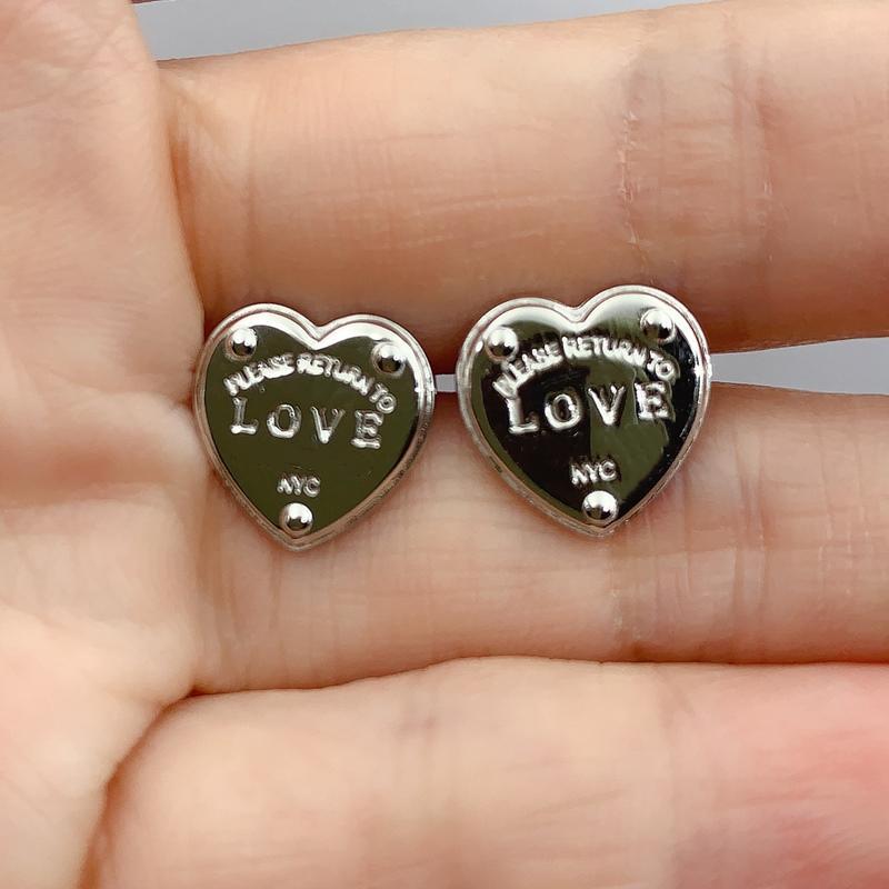 Hot Fashion Jewelry 1: 1 925 Sterling Silber Herzförmige Faszinierende Ohrring Damen-Logo Original-Hochzeit Valentine Geschenk