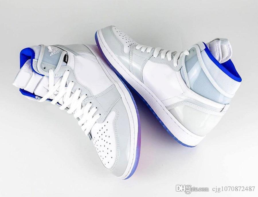 Yeni Top Hava Otantik 1 Yüksek Yakınlaştırma R2T Racer Mavi Basketbol Ayakkabı Retro Beyaz 1S Erkekler Spor Sneakers CK6637-104 ile Kutusu