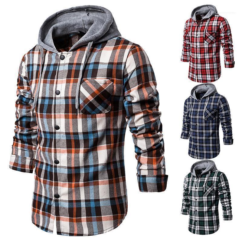 Designer Casual Shirt Plaid manches longues Sweat à capuche Automne Hiver nouveaux hommes Vêtements pour hommes