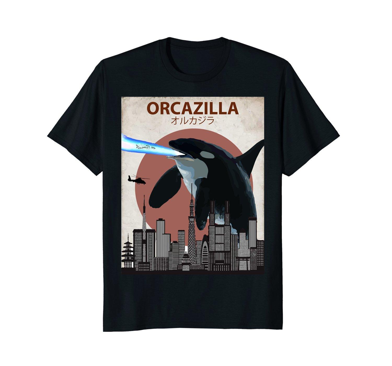 2019 Горячие продажи Мода 100% хлопок Orcazilla Смешной Касатка T-Shirt | Orca Любители подарков Tee рубашки