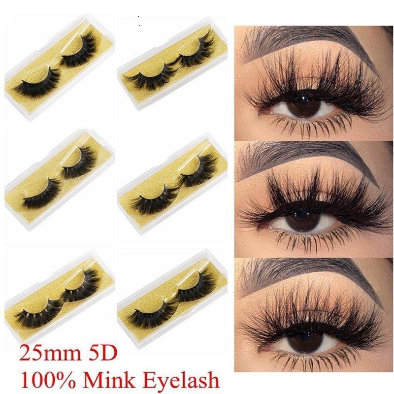 100% Vison Cils 25 mm Wispy Fluffy faux cils 5D maquillage Volumineux Croisillon réutilisable Faux Cils Extensions Beauté outil Mode