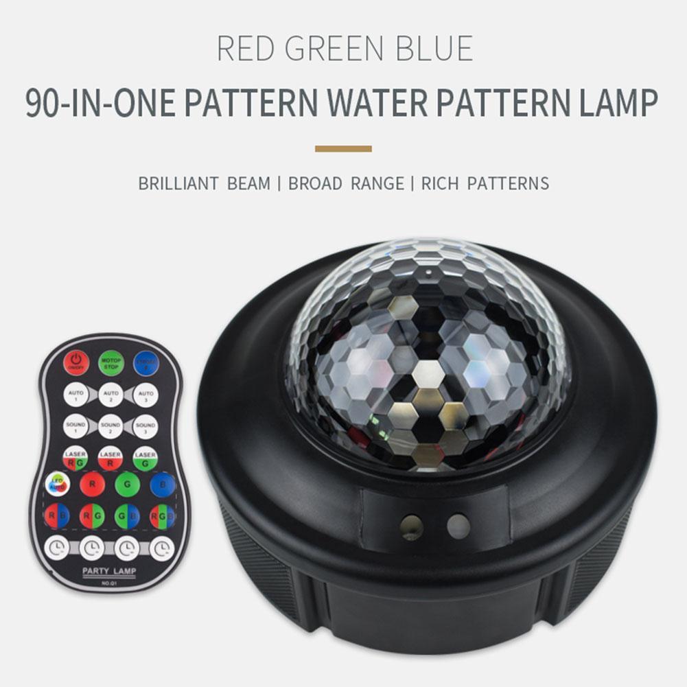 Padrão Starry Sky Água Projector Lamp Controle Remoto colorido Night Light Crianças Quarto Estrela Lamp Noite