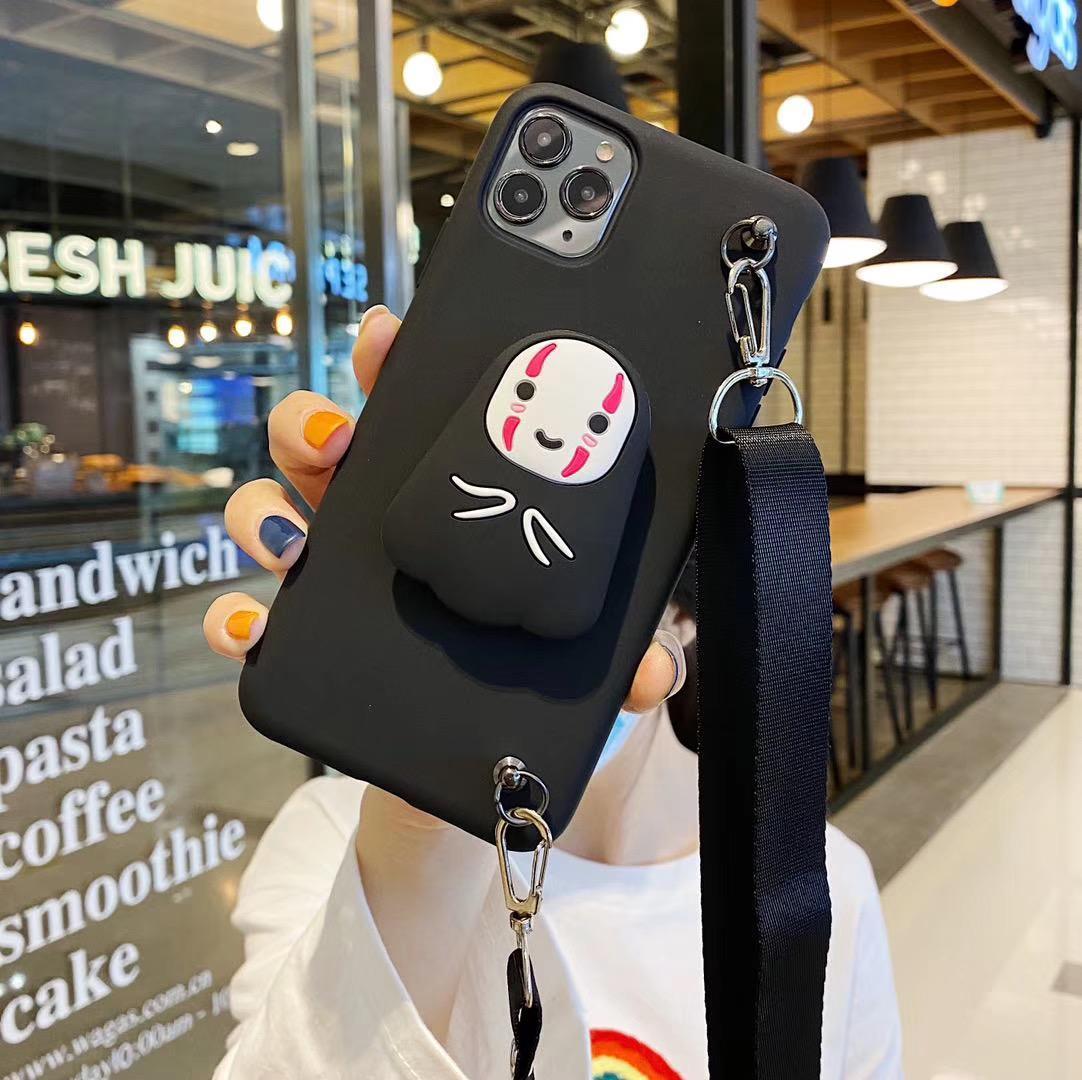 szbobo Uomo sveglio del fumetto del Anime No Face Bricchetti Holder Lanyard Silicon cassa del telefono molle per l'iphone X XR XS 12 11 PRO MAX 7 8 più la copertura