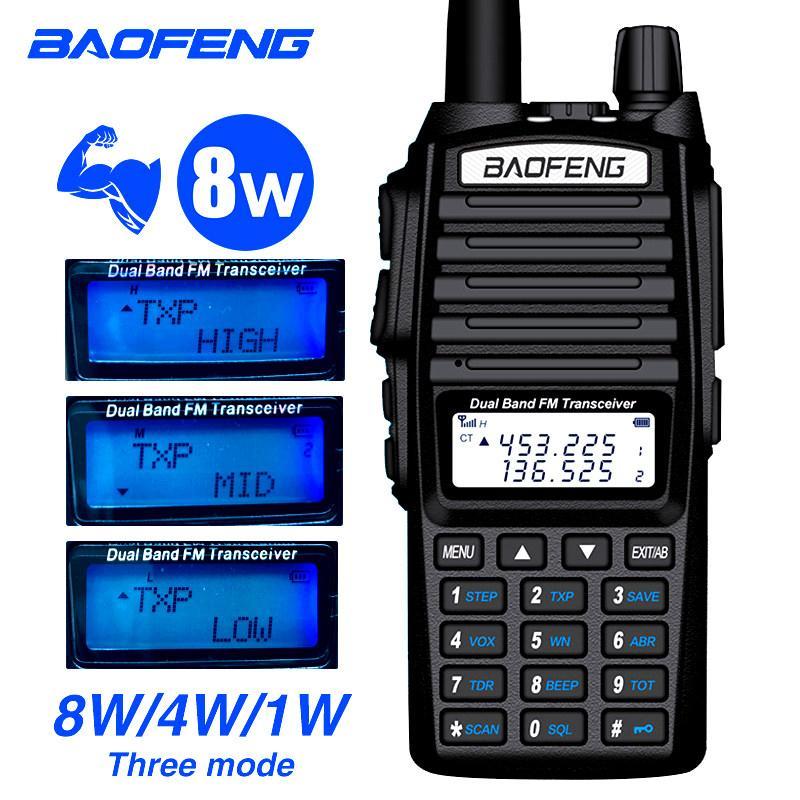 Walkie Talkie Baofeng UV-82 8W rádio bidirecional dupla com fone de ouvido 136-174 / 400-520 MHz FM CB presunto para o transceptor ao ar livre adulto