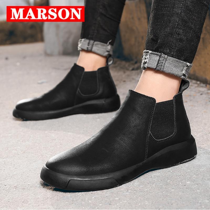 Casual zapatos botas cortas Pisos MARSON Hombres de tobillo bota corta cómodo impermeable al aire libre del Slip-On calzado de cuero del tamaño extra grande